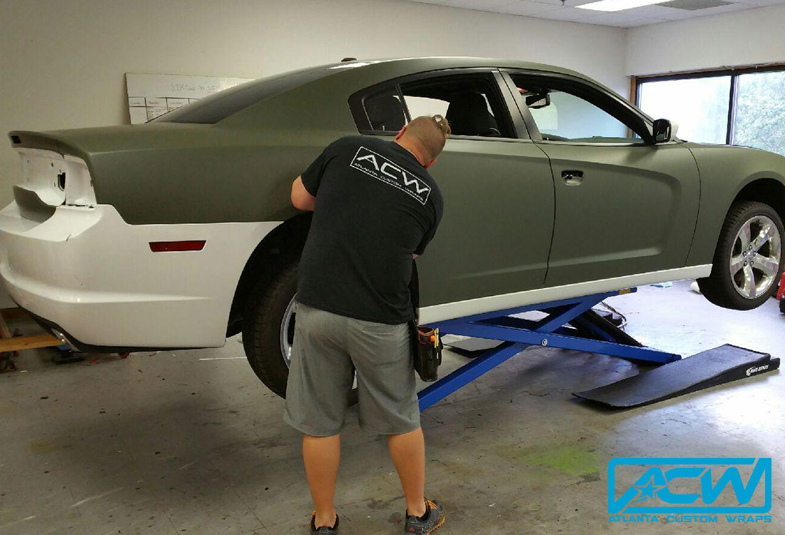 2017 Jetta Custom >> 2014 Dodge Charger RT in Matte Military Green - Atlanta Custom Wraps
