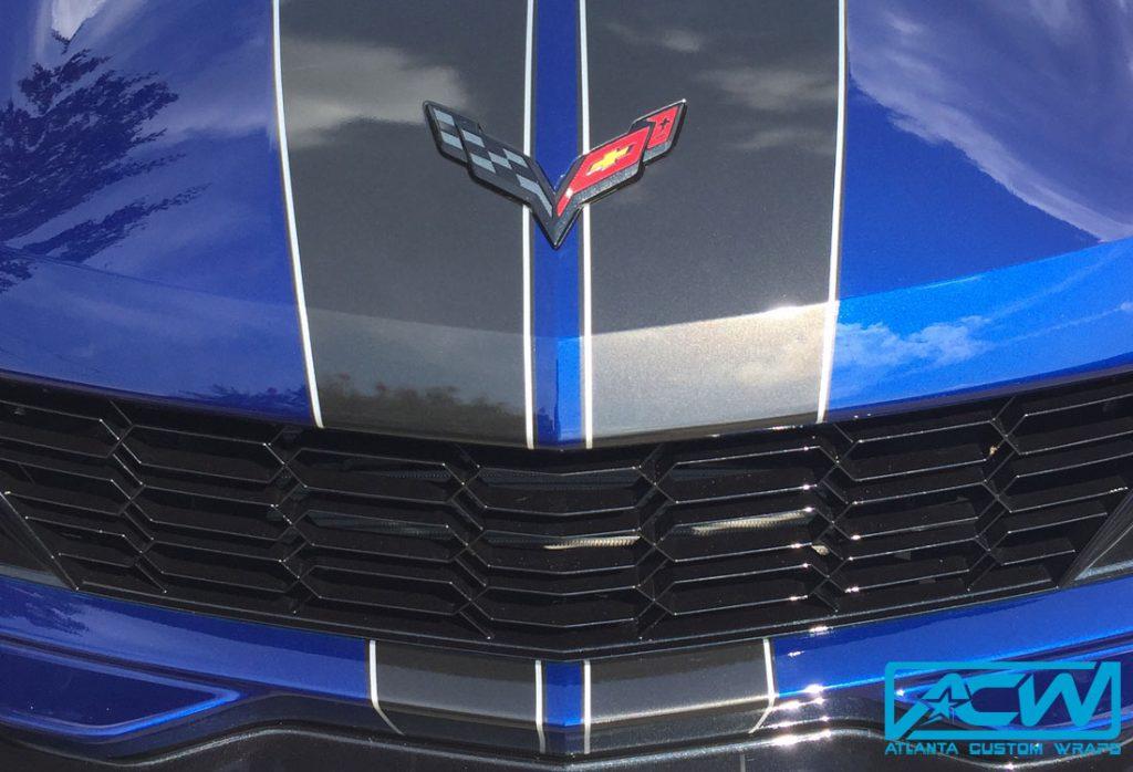 2017 corvette z06 with custom dual rally stripes atlanta custom wraps. Black Bedroom Furniture Sets. Home Design Ideas
