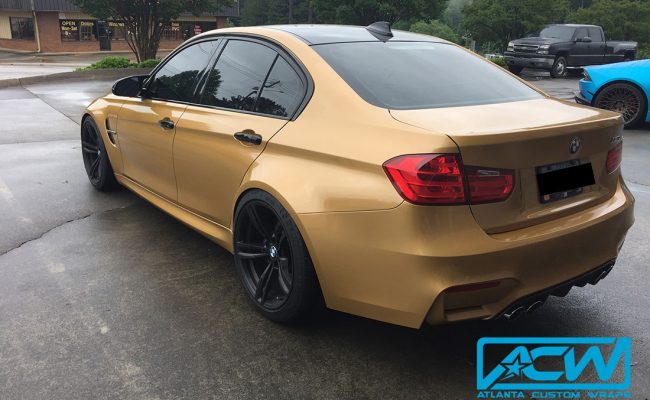 Custom-Vinyl-Wrap-3M-Gold-Wrap-M3-BMW