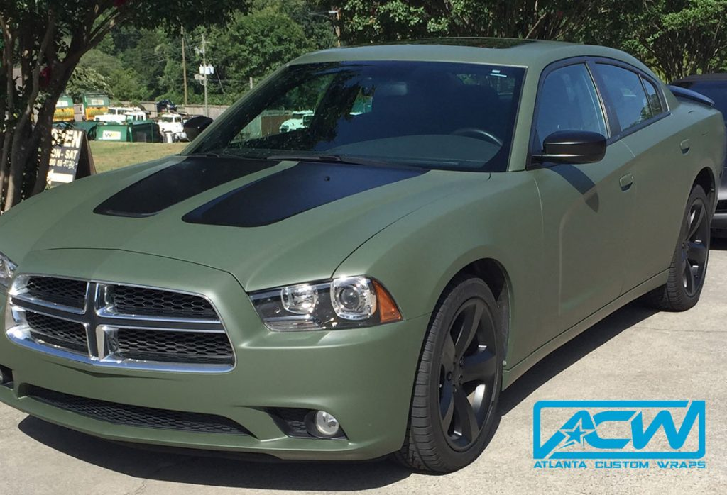 Custom Vinyl Wrap Charger Military Green X on Dodge Hellcat