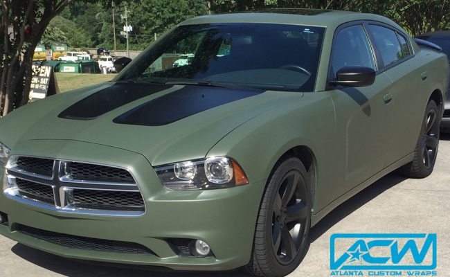 Custom-Vinyl-Wrap-charger-military-green