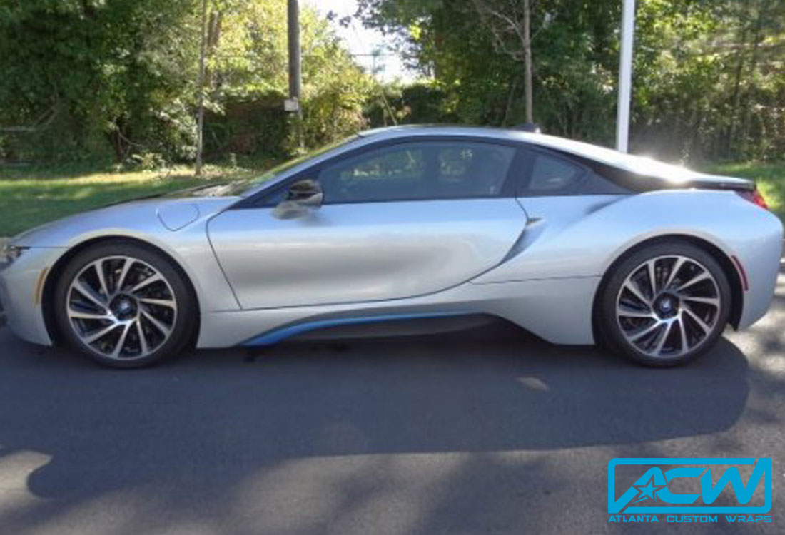 Rose Gold Bmw I8 >> 2014 BMW i8 Silver to Gloss White - Atlanta Custom Wraps