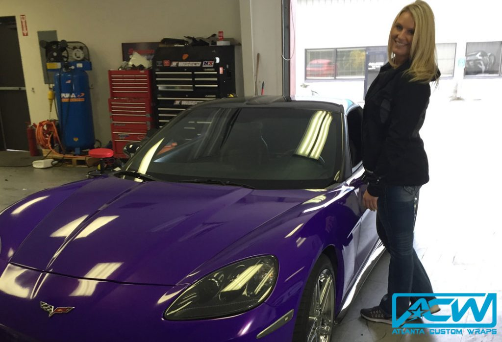 2009 Corvette Wrap 3M Gloss Plum Explosion - Atlanta Custom Wraps