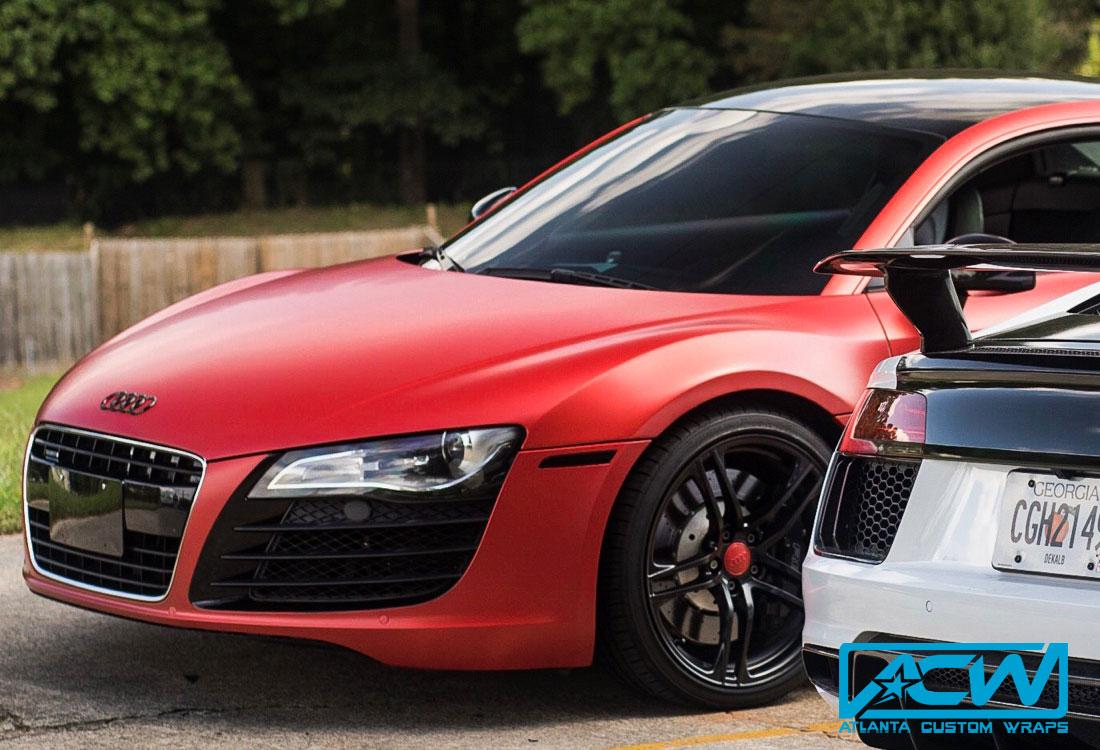 2015 Audi R8 Satin Smoldering Red Atlanta Custom Wraps