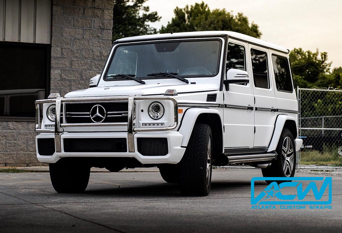 2016 Mercedes G Wagon In 3m Satin White Atlanta Custom Wraps
