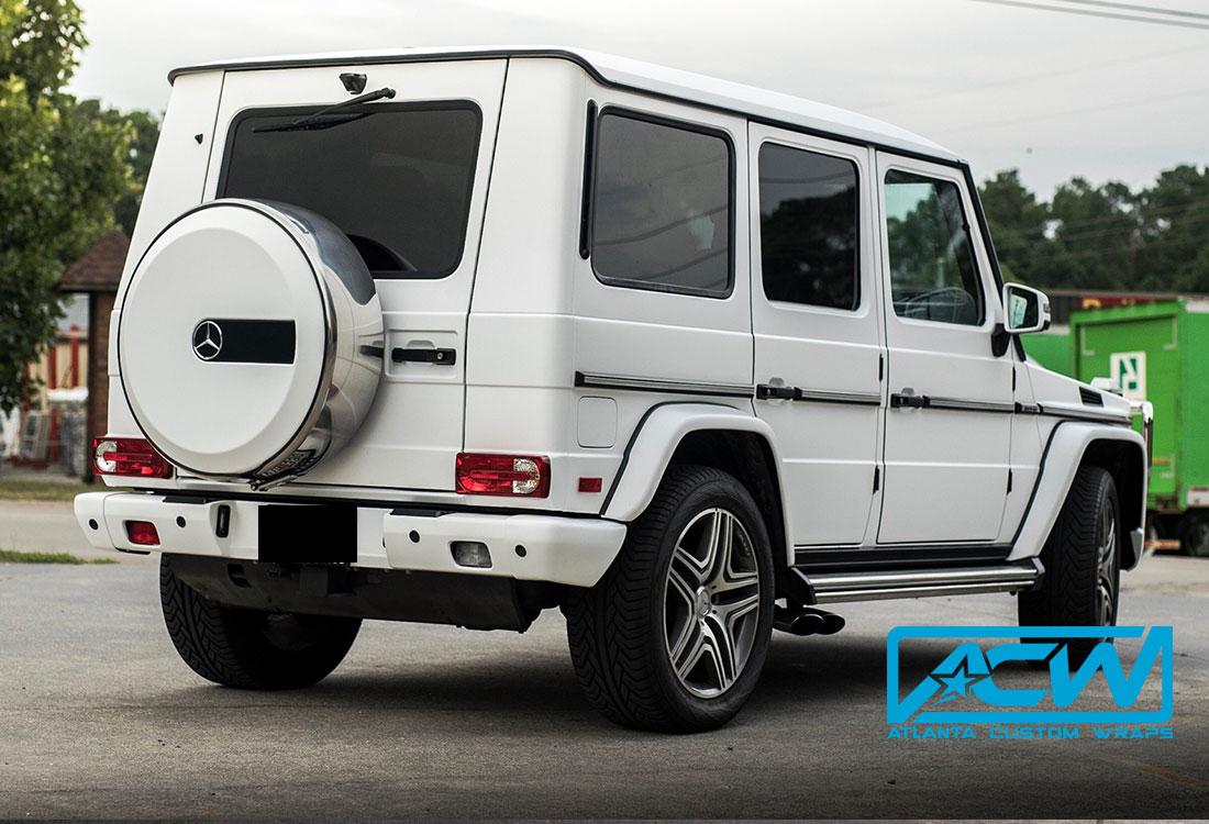 Custom G Wagon >> 2016 Mercedes G Wagon in 3M Satin White - Atlanta Custom Wraps