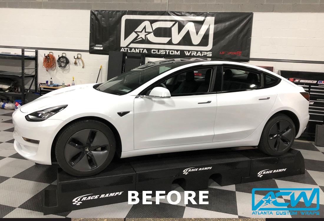 Custom Vinyl Wrap Acw Tesla Wrap 3m My Black Atlanta